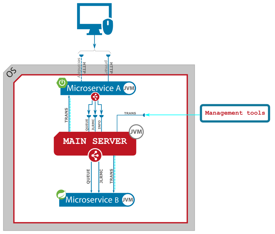 Figure 1. Connectivity between management tools and Main Server.